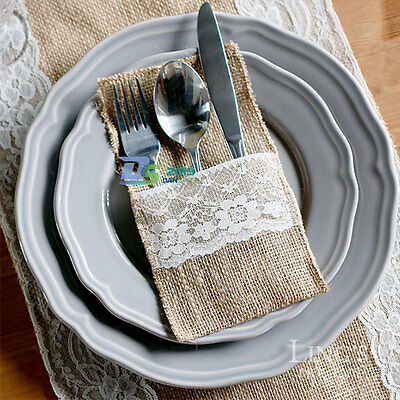 Retro Jute Hessian Burlap Lace Wedding Fork Spoon Cutlery Storage Bag Holders