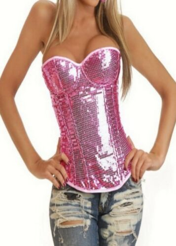 New Fashion Trend Lingerie Strapless Sequin Boned Corset Bustier Top Size CB17
