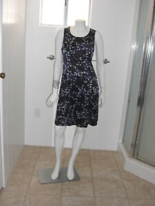 Lisa-Jo-Womens-Navy-Blue-Floral-Print-Dress-Size-Large-Sleeveless-Tie-Up-Back