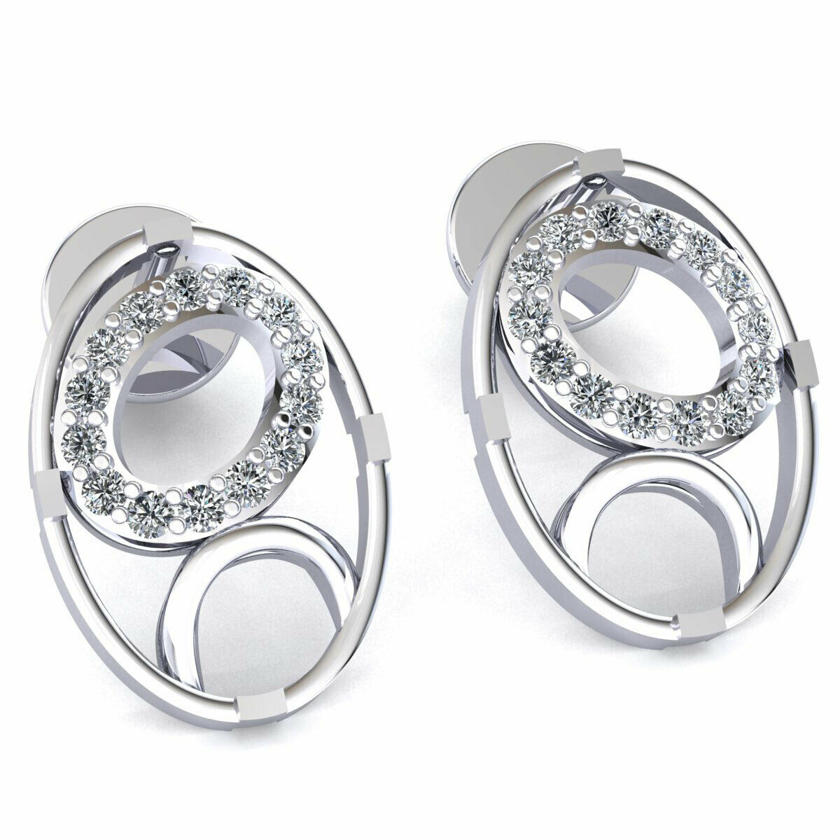 be27c4b3f59e2 Solid Earrings Oval Double Ladies Diamond Cut Round 0.15carat ...
