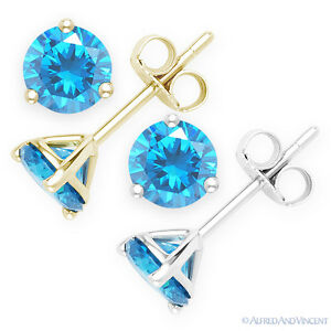 Faux-Blue-Topaz-Round-Cut-CZ-Crystal-925-Sterling-Silver-Martini-Stud-Earrings