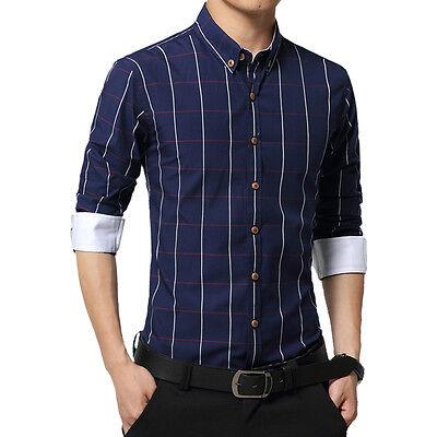 New Men's Fashion Plaids Luxury Casual Business Slim Formal Stylish Dress Shirts