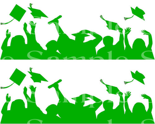 Green Graduation Party ~ Edible 2D Fondant Cake 2 Strip Side Topper ~ D24554 *