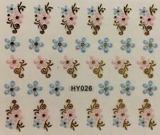 Nail Art 3D Decal Stickers Blue & Pink Flowers With Gold Accents HY026