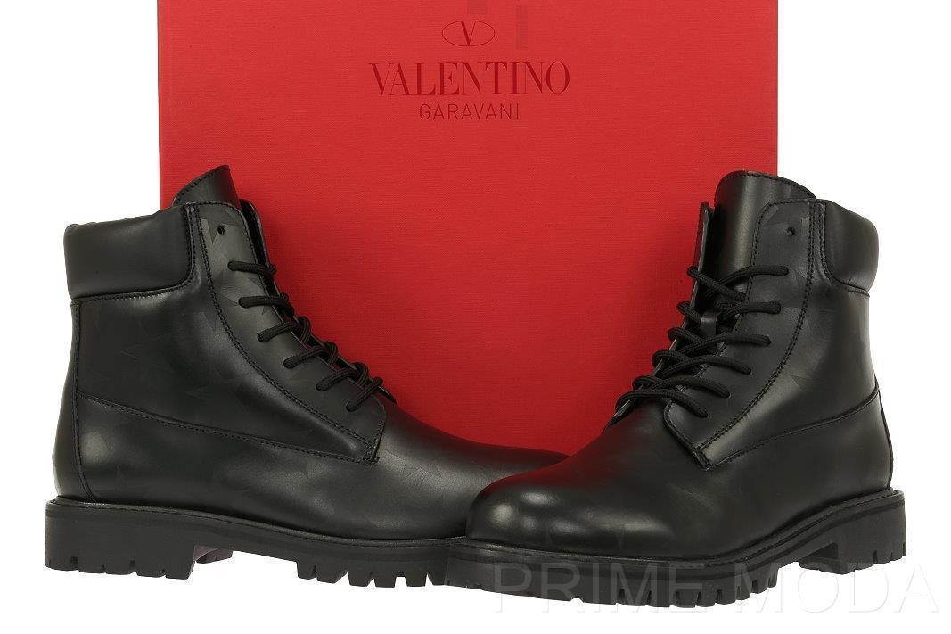 Nuevo Valentino Garavani Cuero Negro botas de combate en en en relieve de estrellas 39.5 US 9.5  Vuelta de 10 dias