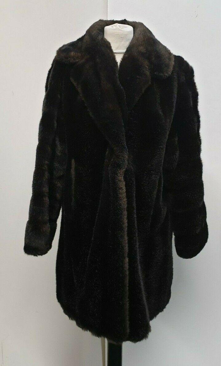 Z522 Mujer Vintage Marrón Oscuro Piel Sintética Abrigo Gancho 1  XL 14-16 EU 44  Las ventas en línea ahorran un 70%.