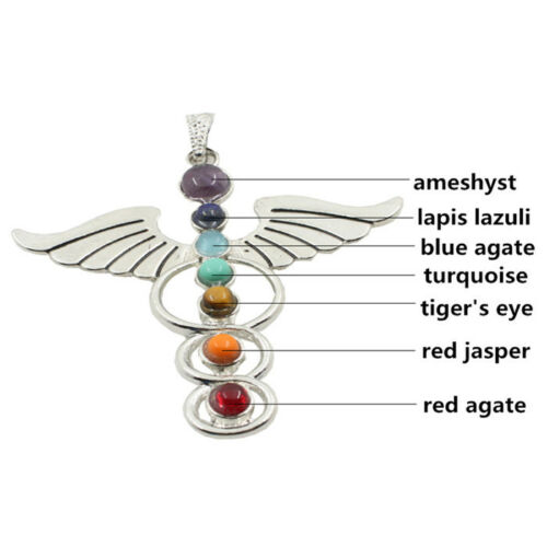 Healing-Chakra-Gemstone-Wing-Cross-Moon-Flower-OM-Life-Tree-Pendant-Fit-Necklace