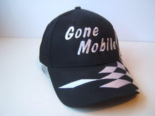 Gone Mobile Checkered Flag Musty Hat Black White Hook Loop Baseball Cap