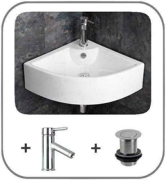 Wall Mounted Small Cloakroom Corner, Corner Bathroom Sinks For Small Spaces