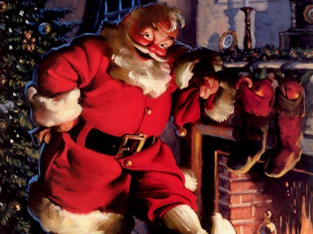 A Merry Christmas Xmas Santa Noel Set C 4 X Fridge Magnets