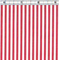 Polyester Cotton Blended Fabric Dressmaking Bedding Fabric 3mm Stripe Red 44'w