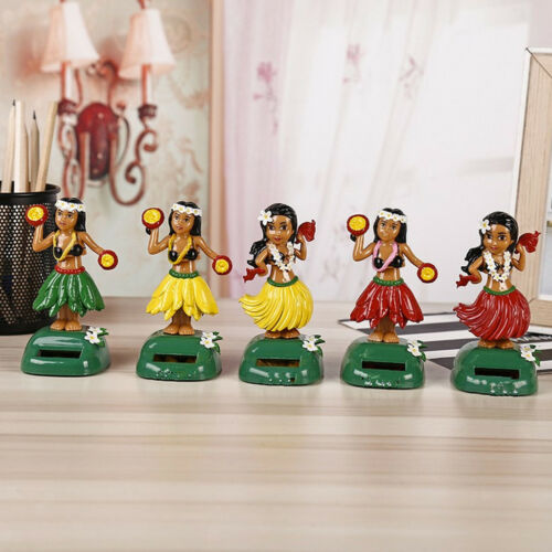 Solar Powered Dancing Hula Girl Swinging Bobble Toy For Car Home Decor Red