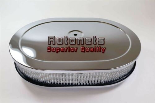 """12/""""x2/"""" Chrome Oval Stamp Steel Air Cleaner Filter 4 BBL Ford Chevy Mopar Holley"""