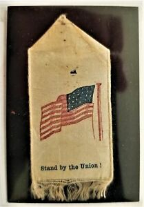 """1800s antique STAND BY THE UNION RIBBON civil war or gar? american flag 1.75""""x3"""""""