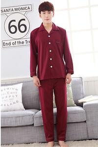Nuevo-Algodon-Hombre-Simplemente-Suerte-Rojo-Largo-Top-y-Pantalon-Pijamas