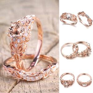 Women-Rhinestone-Crystal-Wedding-Rings-Alloy-Ring-Rose-Gold-Fashion-Jewelry-07AU