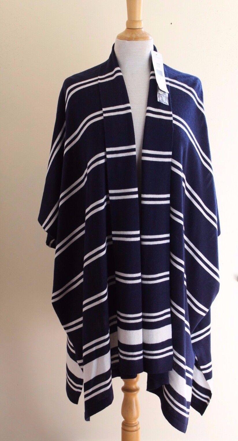 NWT Ralph Lauren Navy Lagenlook Silk Cashmere Indian Art-to-Wear Sweater Sz M