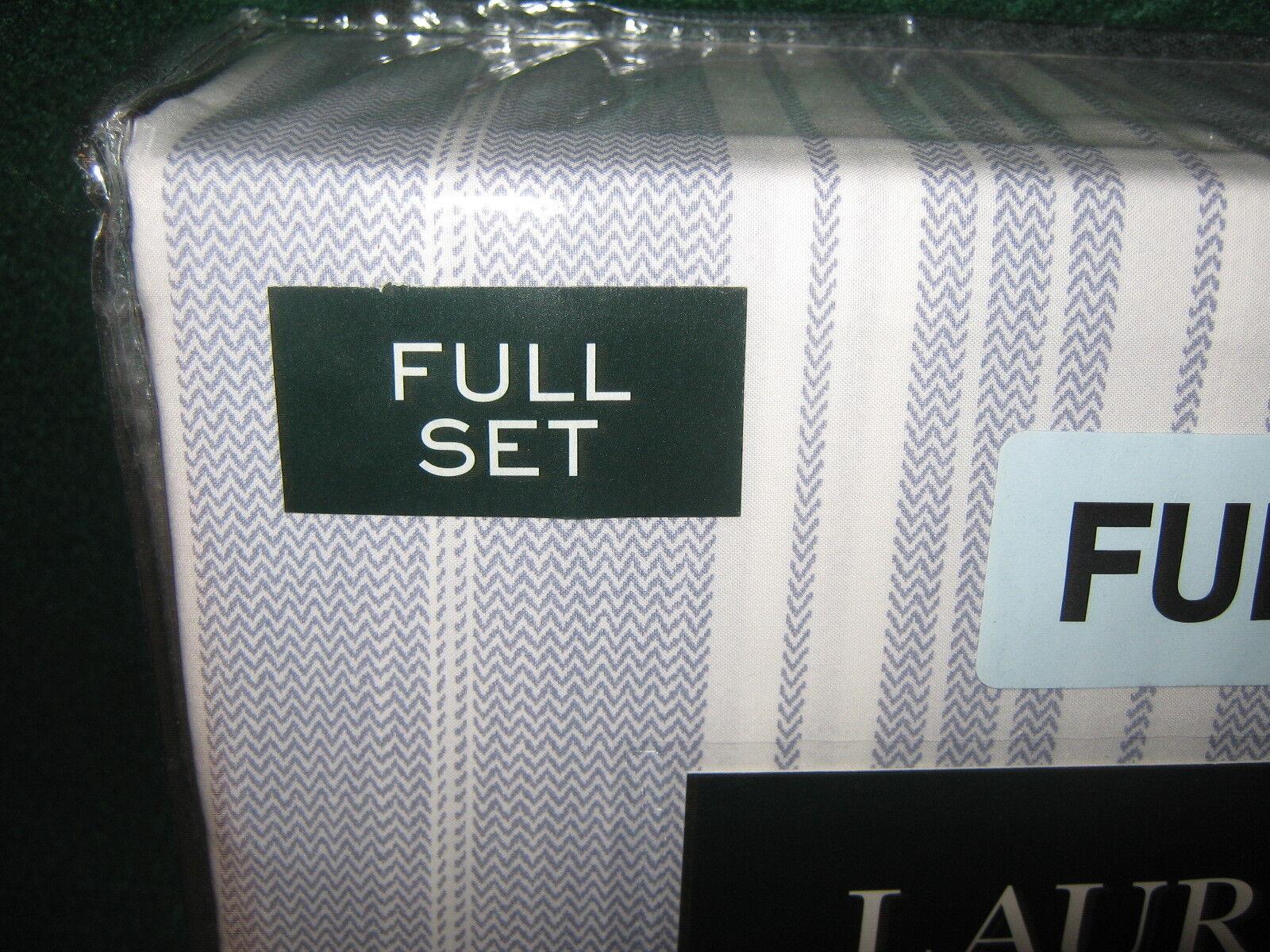 Ralph Lauren FULL Sheet Set 100% Cotton 4 Piece Set   CHEVRON STRIPS