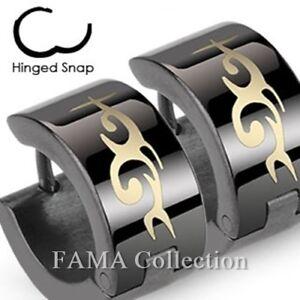 FAMA-Stainless-Steel-Black-Hoop-Earrings-with-Tribal-Design