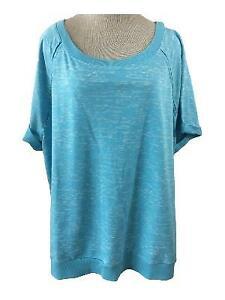 Dept-222-knit-top-size-3X-aqua-blue-white-short-cuffed-sleeve-cotton-blend