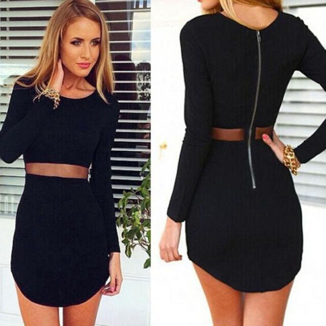 Sexy Women Lady Bodycon Long sleeve Slim Cocktail Party Short Mini Black Dress
