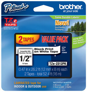 "2-Pack Brother 1/2"" Black on White P-touch Tape for PT2110, PT-2110 Label Maker"