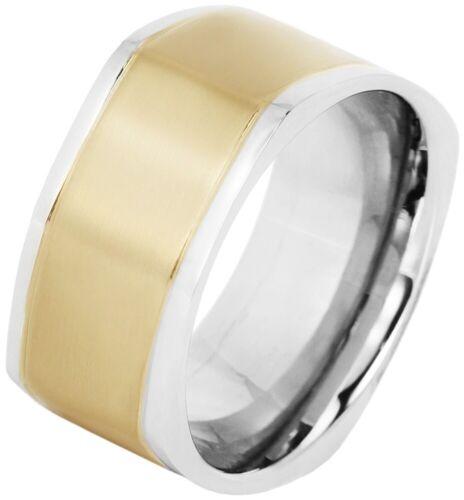Señores anillo de acero inoxidable plata oro bicolor masivamente hombres anillo de acero inoxidable anillo de banda
