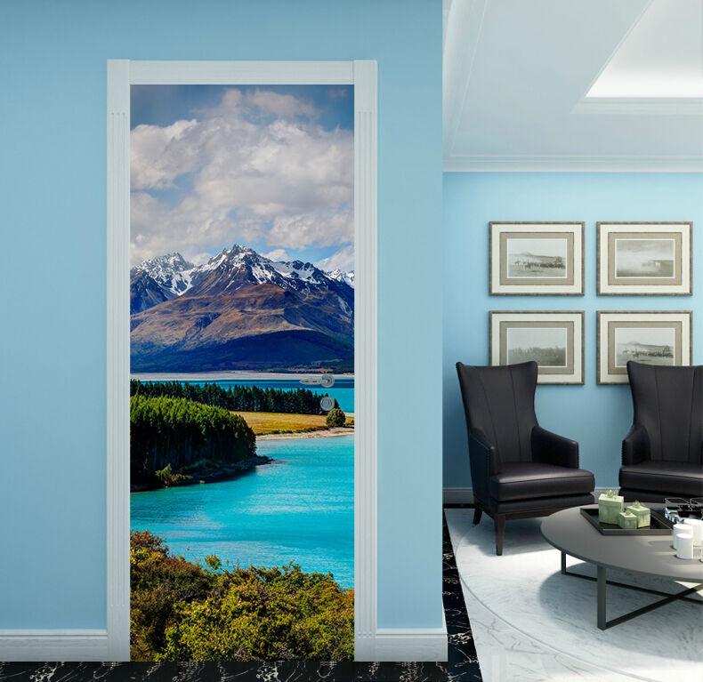 3D Fluss Blau 52 Tür Mauer Wandgemälde Foto Wandaufkleber AJ WALL DE Lemon