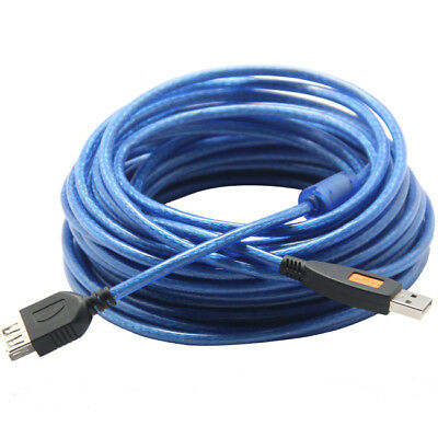 Blue Shielding Braid USB 2.0 A Female To A Male Extension Cable Cord Long 30ft