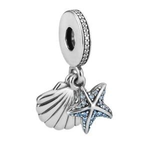 100/% 925 Sterling Silver Seahorse Fish Starfish Big Hole Beads Enamel Blue Sea Underwater World DIY Charms Bead Fit Original Charm Bracelet