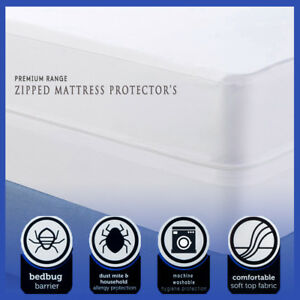 100-Cotton-Poly-Blend-Zipped-Mattress-Protector-Anti-Allergy-Bugs-Mites-Treated