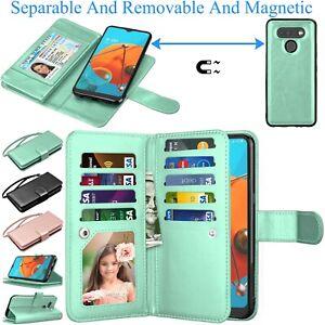Pour-LG-K51-Reflect-Q51-a-rabat-en-Cuir-Telephone-Etui-Portefeuille-Carte-Support-etui-Strap