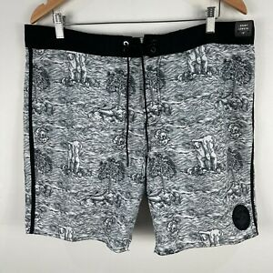 RVCA-Mens-Board-Shorts-36-Black-White-Drawstring