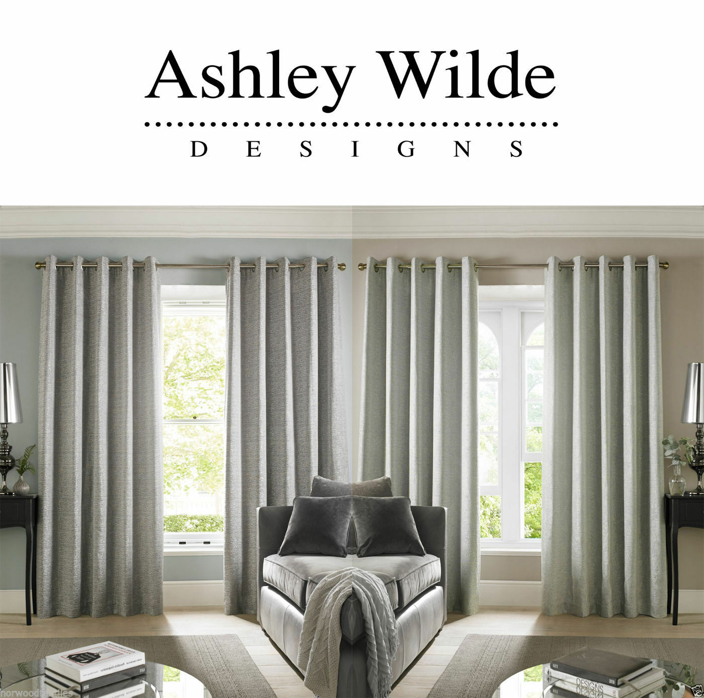 Ashley Wilde Cairo Chenille Fully Lined Ready Made Eyelet Ring Top Curtains Pair