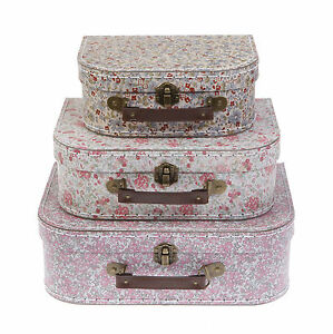 Set Of 3 Vintage Floral Suitcases Sass & Belle Storage Chest Home ...