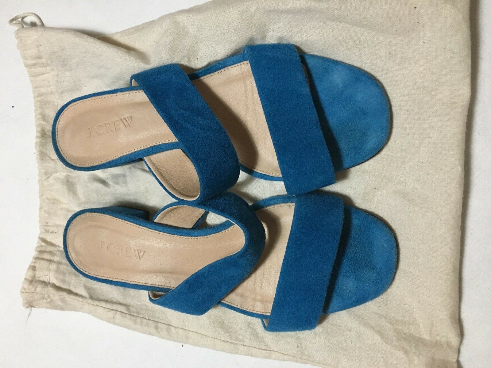 J. Crew Turquoise Size 7 Flats Sandals Slip on Comfy Donna Pelle Lining