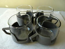 4 JAJ 1960's  GLASS  and GREY PLASTIC 180ml COFFEE TEA CAMPING MUGS USED VG