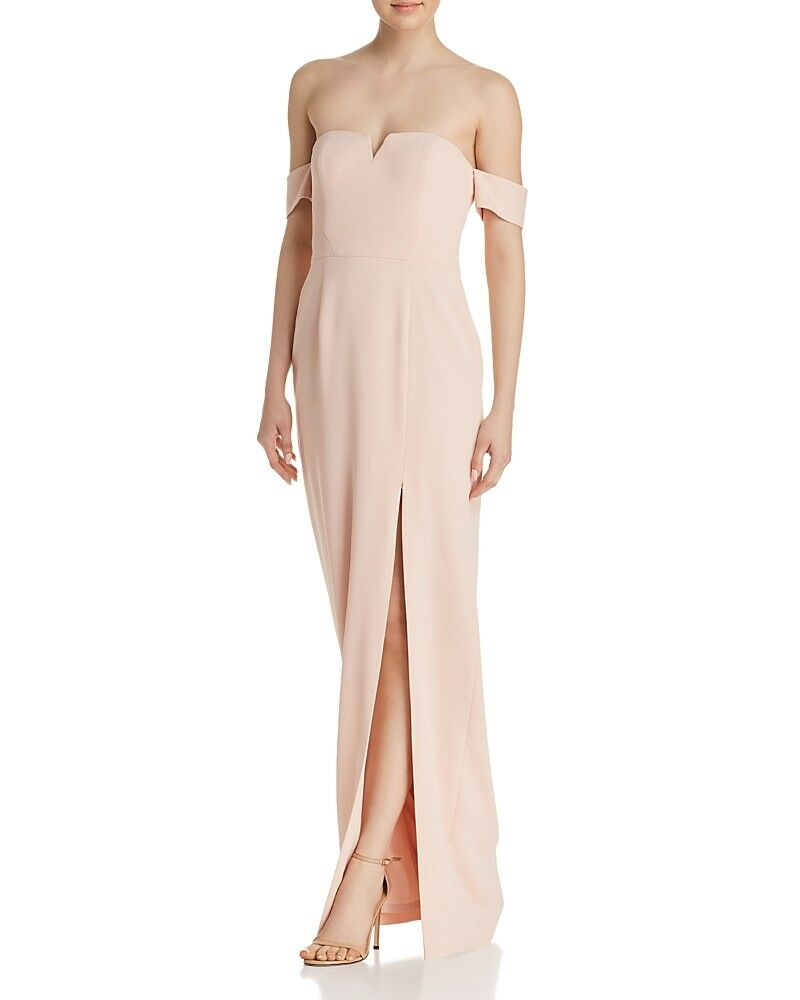 NWT  AIDAN MATTOX damen Rosa OFF-SHOULDER EVENING CREPE GOWN DRESS Größe 4