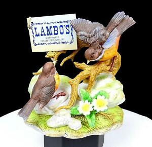 """LAMBO'S GALLERY PAIR OF ROBINS ON A BRANCH & ROCK 6"""" BISQUE FIGURINE HANGTAG"""