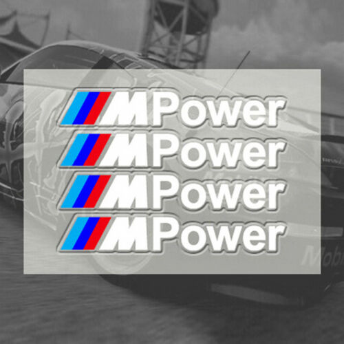 4 White Stickers for for BMW X1 X3 X5 X6 3 and 5 and 7 Series //M Power Logo #J4