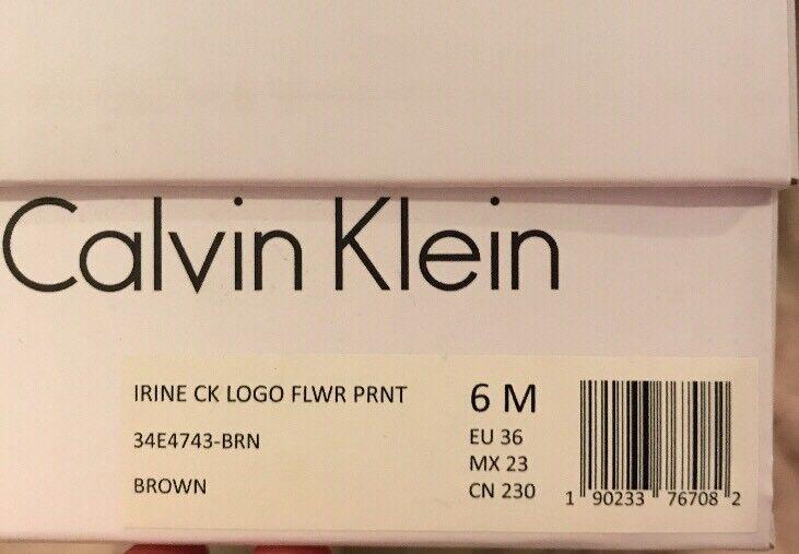 New Calvin Klein IRINE IRINE Klein CK Logo Flower Print Braun Damenschuhe 6 M Schuhes Mules Slip On 87627a