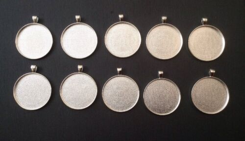 10 x 38mm Round Pendant Blanks Trays Bezel Settings For Resin Polymer Clay