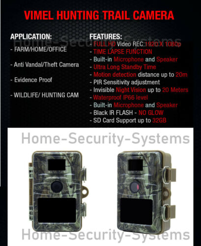 Home Security Video Solar Camera Trail 32GB Outdoor Motion Activated Anti Theft