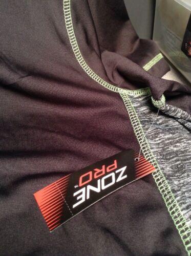 New Men/'s Black Gray w//Green Stitching Zone Pro Short Sleeve Shirt Size M or 2XL