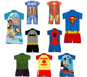 2678c87aaa Image is loading Boys-UV-Character-Swimsuit-Surf-Suit-Kids-Swimming-