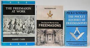 3 x FREEMASON BOOKS, POCKET HISTORY, SECRET WORLD & FREEMASON AT WORK (SIGNED)