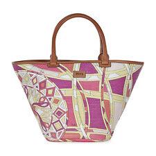 Emilio Pucci Printed Woven Raffia Tote Handbag Fuchsia Capri Print