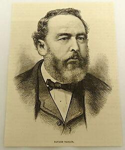 1879-magazine-engraving-PORTRAIT-OF-BAYARD-TAYLOR-American-poet