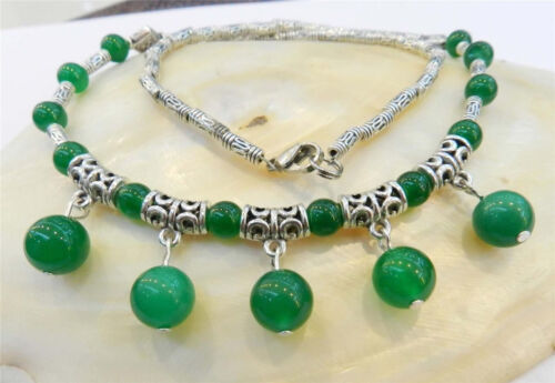 """Lovely 6-10mm Natural Green Jade Round Beads Pendant Tibet Silver Necklace 18/"""""""