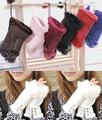 Women's HQ Real Rabbit Fur Hand Wrist Warmer Fingerless Winter Gloves